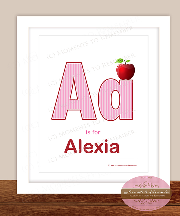 Alphabet Name Print - Letter A for Girls