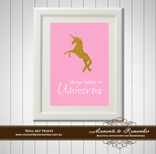 Children's Wall Art - Believe in Unicorns