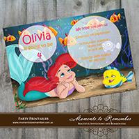Childrens Invitation - The Little Mermaid Ariel 01
