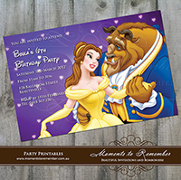 Childrens Invitation - Beauty and The Beast Belle 01