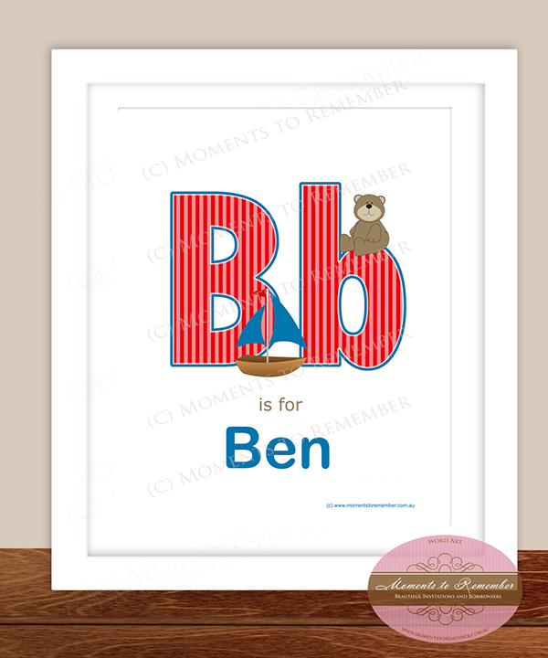 Alphabet Name Print - Letter B for Boys