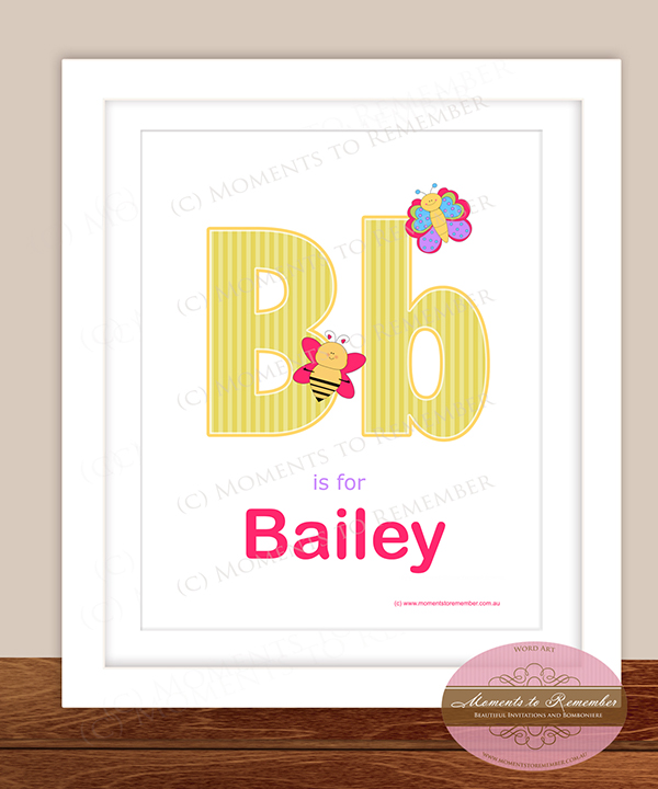 Alphabet Name Print - Letter B for Girls