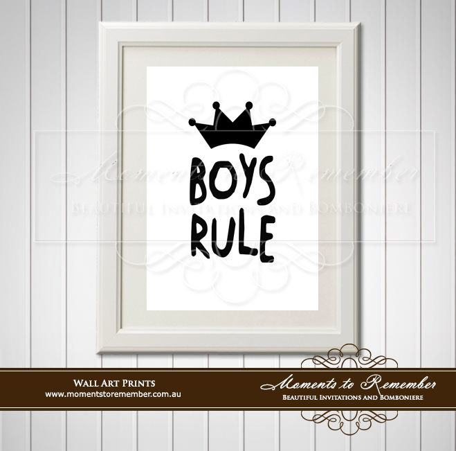 Children's Wall Art - Boys Rule