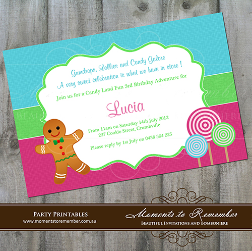 Childrens Invitation - Candyland 01