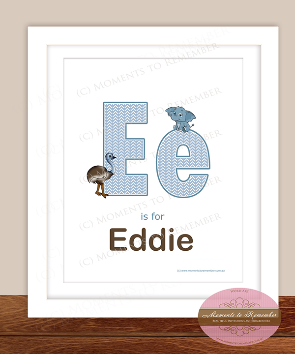 Alphabet Name Print - Letter E for Boys