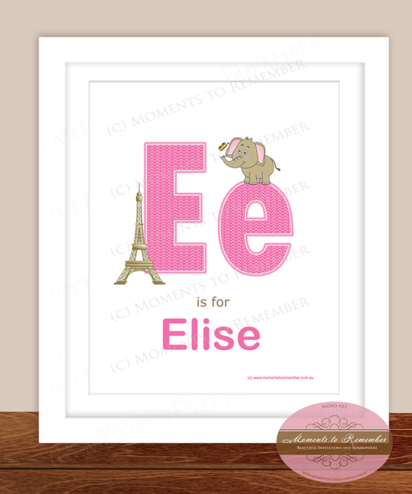Alphabet Name Print - Letter E for Girls