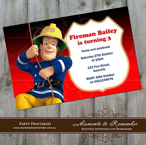 Childrens Invitation Fireman Sam 01