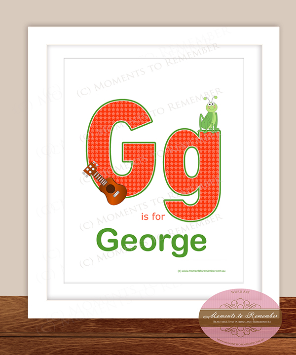 Alphabet Name Print - Letter G for Boys