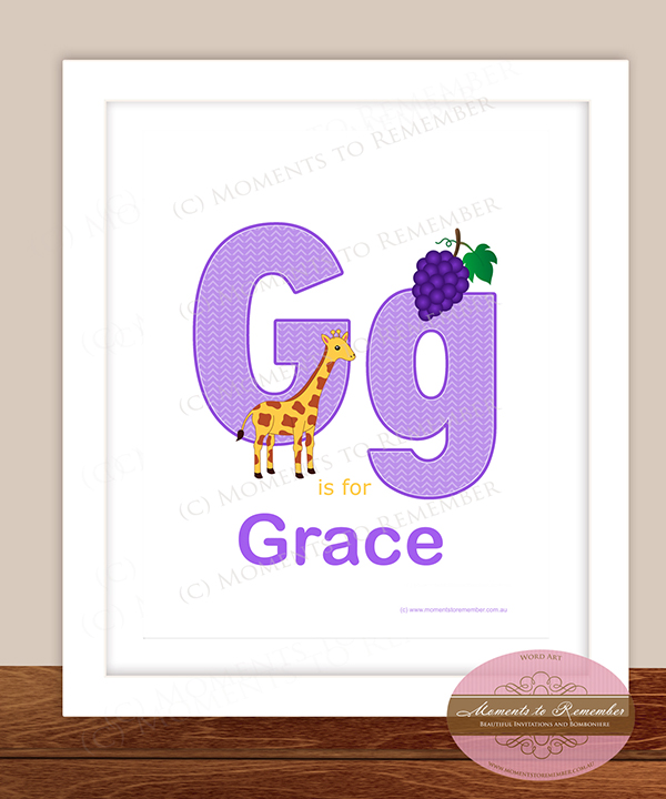 Alphabet Name Print - Letter G for Girls
