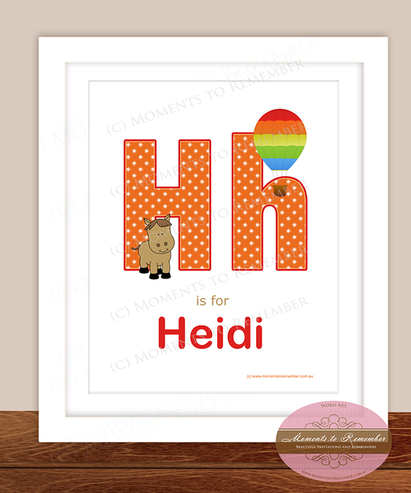 Alphabet Name Print - Letter H for Girls