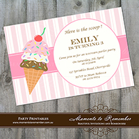 Childrens Invitation - Icecream Party 01