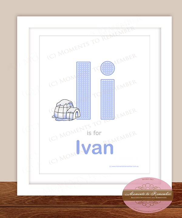 Alphabet Name Print - Letter I for Boys
