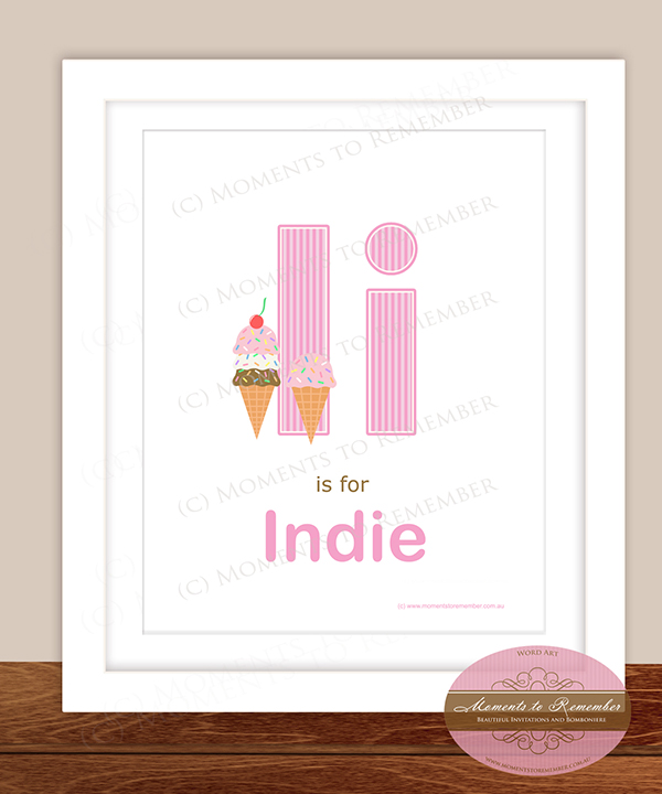 Alphabet Name Print - Letter I for Girls