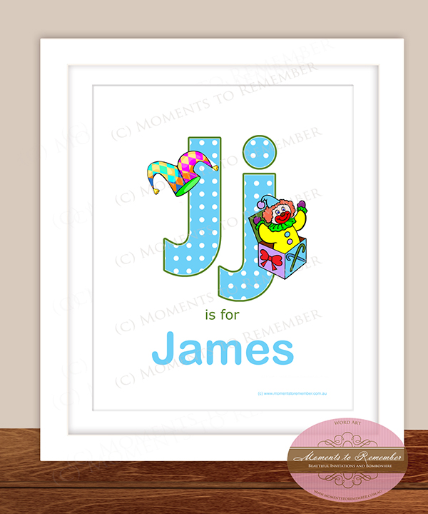 Alphabet Name Print - Letter J for Boys