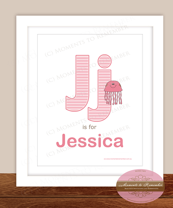 Alphabet Name Print - Letter J for Girls