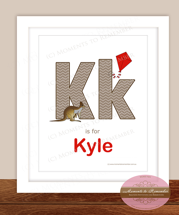 Alphabet Name Print - Letter K for Boys