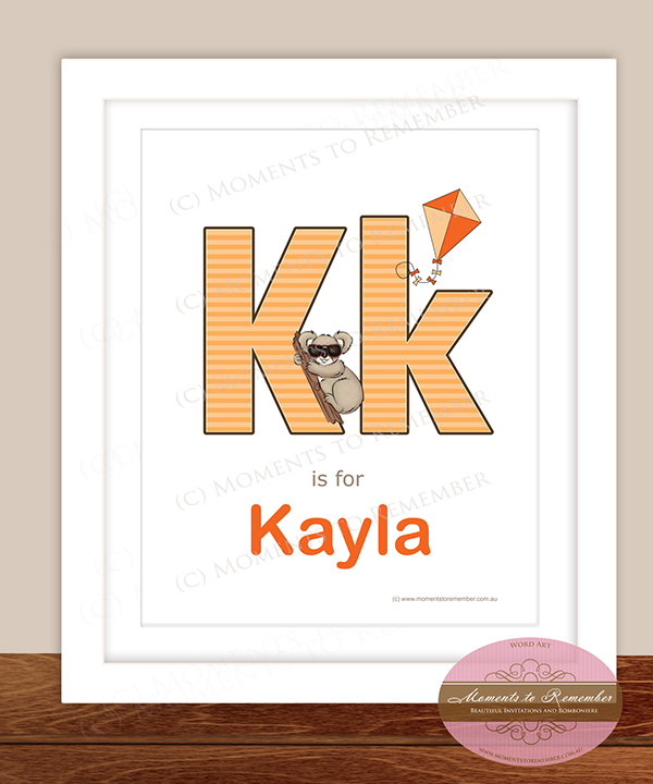 Alphabet Name Print - Letter K for Girls