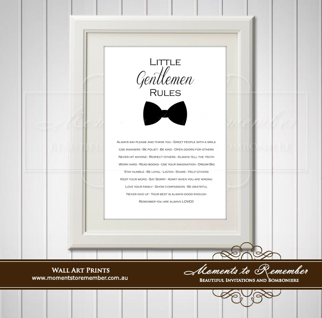 Children's Wall Art - Little Gentleman Rules