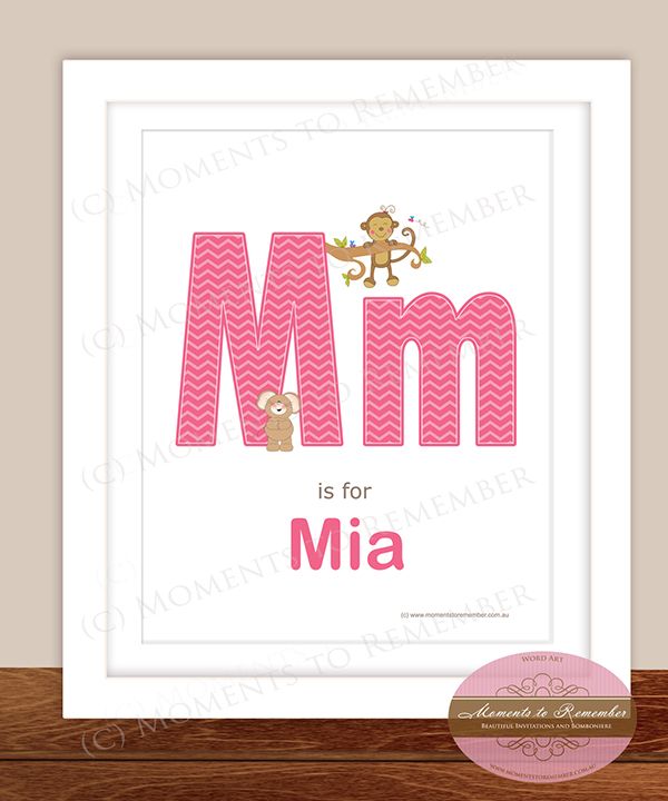 Alphabet Name Print - Letter M for Girls