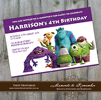 Childrens Invitation - Monsters Inc 02