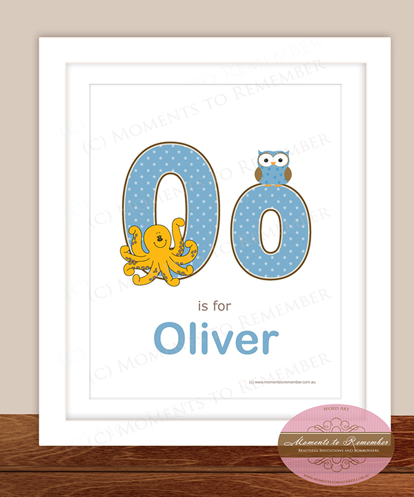 Alphabet Name Print - Letter O for Boys