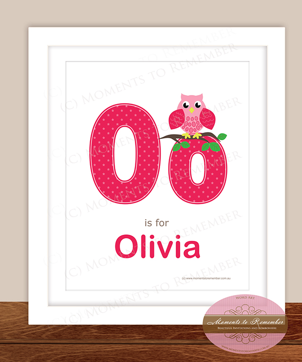 Alphabet Name Print - Letter O for Girls