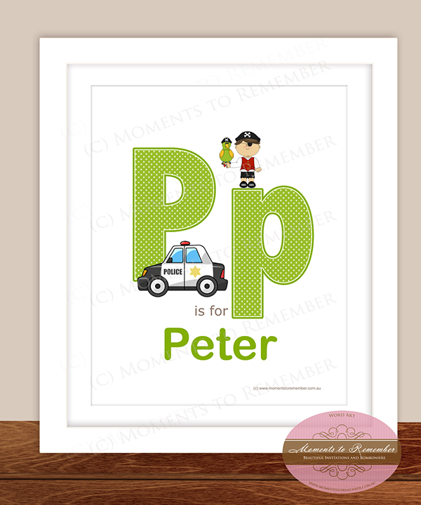 Alphabet Name Print - Letter P for Boys