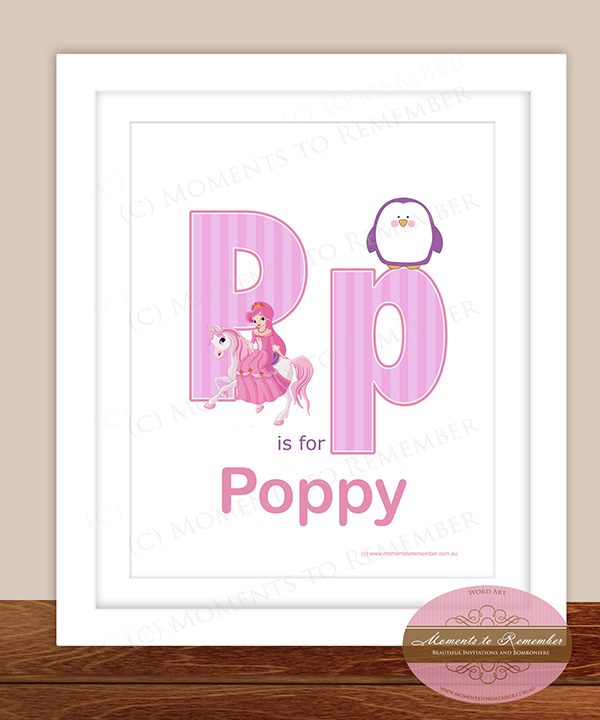Alphabet Name Print - Letter P for Girls