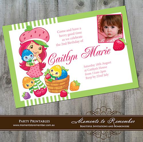 Childrens Invitation - Strawberry Shortcake 02