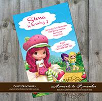 Childrens Invitation - Strawberry Shortcake 01