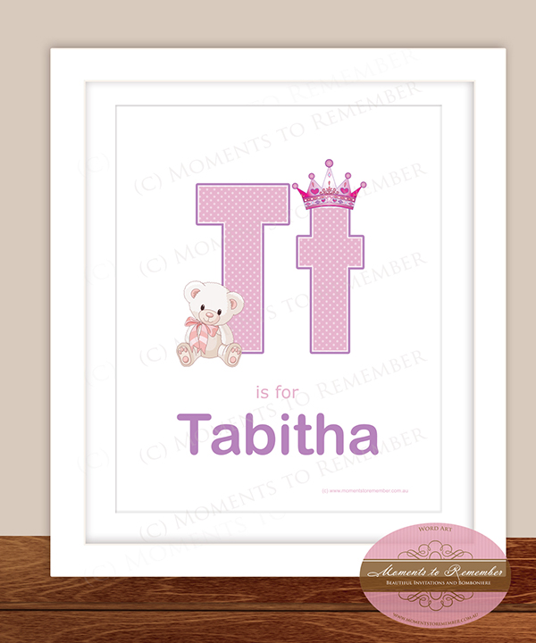Alphabet Name Print - Letter T for Boys