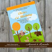 Childrens Invitation - Woodland Animals 01